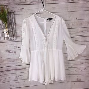 Missguided  White one piece romper lace up detail